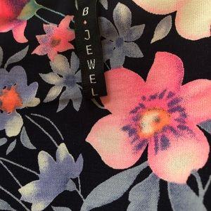 B Jewel Tops - Floral Button-up peplum Tank